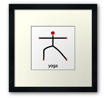 Stick figure of warrior 2 pose with yoga text. Framed Print