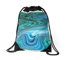 Blue, blue, and blue swirl abstract. Drawstring Bag