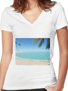 palms on the beach Women's Fitted V-Neck T-Shirt