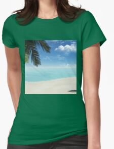 palm on the beach Womens Fitted T-Shirt
