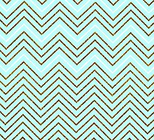 Vintage teal gold faux glitter chevron pattern  by Maria Fernandes