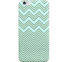 Vintage teal gold faux glitter chevron pattern  iPhone Case/Skin
