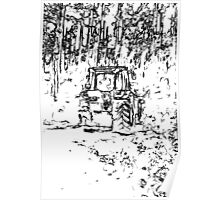 drawing tractor and nature Poster