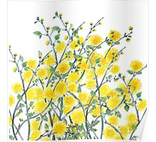 Cute vintage yellow green floral painting pattern  Poster