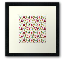Cute colorful vintage owls floral pattern Framed Print