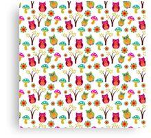 Cute colorful vintage owls floral pattern Canvas Print