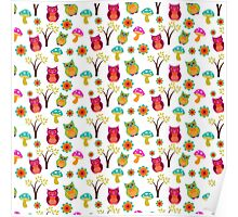 Cute colorful vintage owls floral pattern Poster