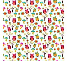 Cute colorful vintage owls floral pattern Photographic Print