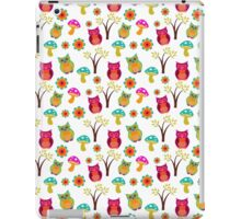 Cute colorful vintage owls floral pattern iPad Case/Skin