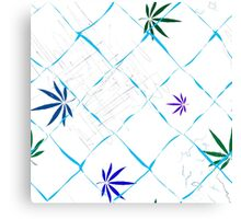 Colorful Marijuana Leaves, Grid and Scratches Canvas Print