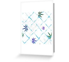 Colorful Marijuana Leaves, Grid and Scratches Greeting Card