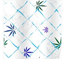 Colorful Marijuana Leaves, Grid and Scratches Poster
