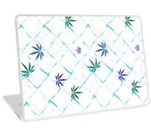 Colorful Marijuana Leaves, Grid and Scratches Laptop Skin