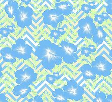 Vintage blue white green yellow chevron floral  by Maria Fernandes