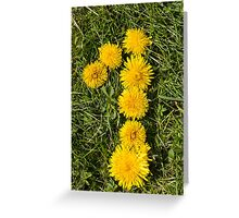 number one drawn with dandelion on the lawn Greeting Card