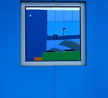 Blue wall with reflection by athex