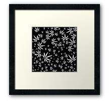 White Marijuana Leaves Framed Print