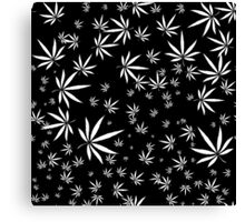 White Marijuana Leaves Canvas Print