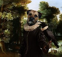 Border Terrier Art - Forest landscape with a hunter and Noble Lady by NobilityDogs