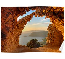 Arched Aegean View - Monolythos Rhodes Poster