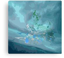 Blue & Green Music Notes Abstract Canvas Print
