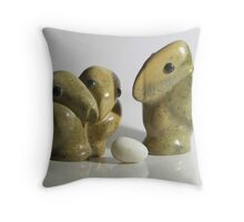 Uncle Eggbert and the inseparable lovebirds Throw Pillow
