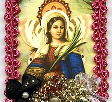 ARTIST TRADING CARD ACEO ST. LUCIA FAIRY COLLAGE by Frances Perea