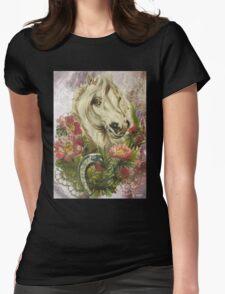 Victorian White Horse Horseshoe Pink Flowers T-Shirt