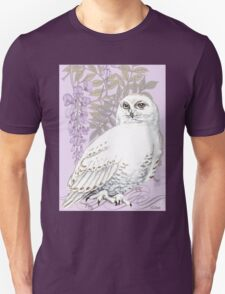 White Snow Owl Purple Wisteria T-Shirt