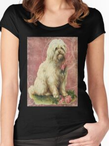 Victorian White Sheep Dog Pink Flowers Women's Fitted Scoop T-Shirt