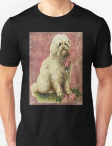 Victorian White Sheep Dog Pink Flowers T-Shirt