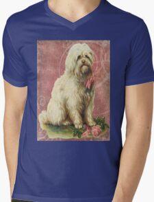 Victorian White Sheep Dog Pink Flowers Mens V-Neck T-Shirt