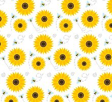 Sunflower And Bumble Bees Graphic Pattern by Sharon Norman
