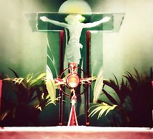 Adoration with Red Candles  by Art4ThGlryOfGod