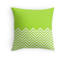 Lime-Green Chevrons with Solid Block Top Throw Pillow