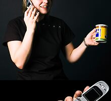 Drinking while on the phone. by Michael Ricketts