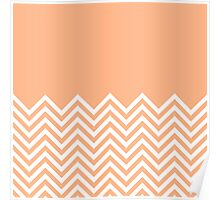 Peach Chevrons with Solid Block Top Poster