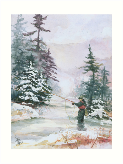 """Winter Magic - A very """"Wintery"""" and Calm Fishing Scene by Elisabeta Hermann"""