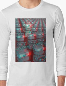 Retro 3D Robot Cinema Long Sleeve T-Shirt