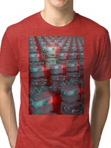 Retro 3D Robot Cinema Tri-blend T-Shirt