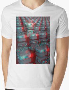 Retro 3D Robot Cinema Mens V-Neck T-Shirt