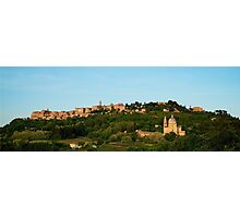 Italian Hill Town at Sunset Photographic Print