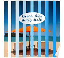 """Ocean Air, Salty Hair."" Typography on Beach Scene Poster"