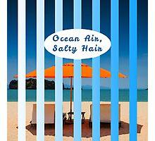 """Ocean Air, Salty Hair."" Typography on Beach Scene Photographic Print"