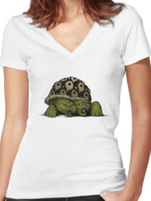Taunt The Timid Terapin Women's Fitted V-Neck T-Shirt