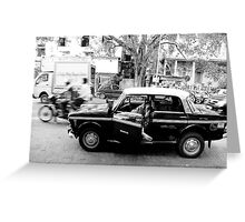 a taxi driver sleeping in his taxi Greeting Card