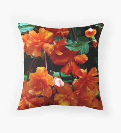 Begonia Cluster Throw Pillow