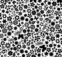 Flower & Butterfly Pattern - Black Flowers (White Background) by chayground