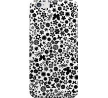 Flower & Butterfly Pattern - Black Flowers (White Background) iPhone Case/Skin