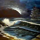 moonlit ship at sea by jentson
